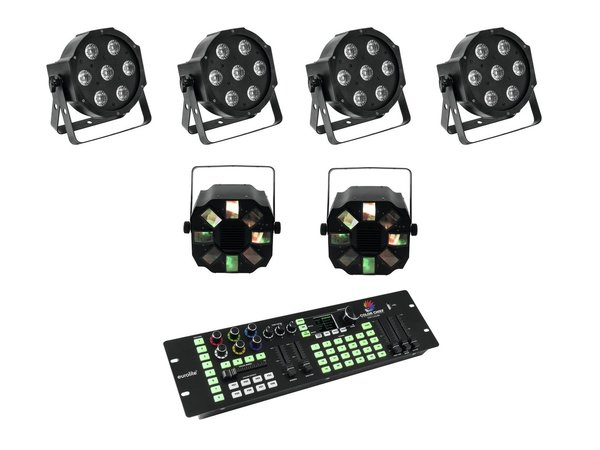 EUROLITE Set 4x LED SLS-7 HCL Floor + 2x LED FE-700 + DMX LED Color Chief Controller